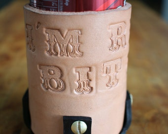 Leather can insulator.  Free monogramming.