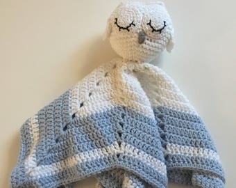 Ready to ship//Crochet sleeping owl comfort/security blanket
