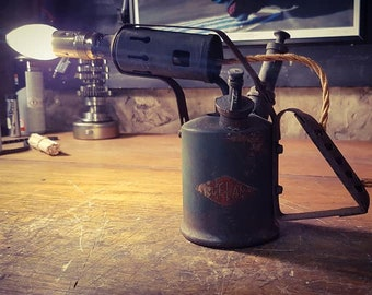 Old Style Retro lamp using vintage blow torch; up-cycled. Unique rustic table lamp. Steampunk. Man cave.