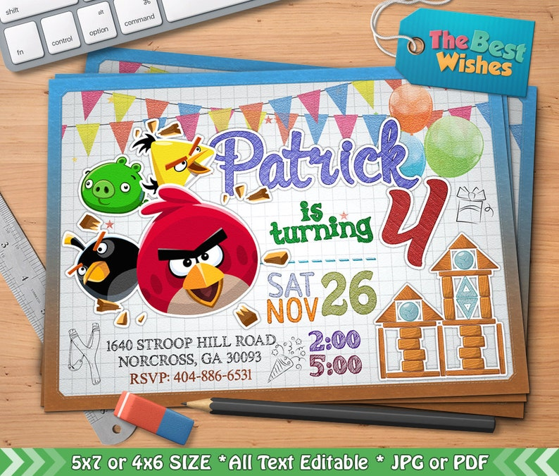 Angry Birds Invitation Angry Birds Birthday Party Cartoon Personalized Printable Ballpoint Pen Drawing On Grid Paper Digital File