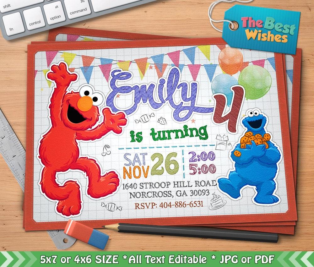Elmo Invitation Sesame Street Elmo Birthday Party Cartoon   Etsy