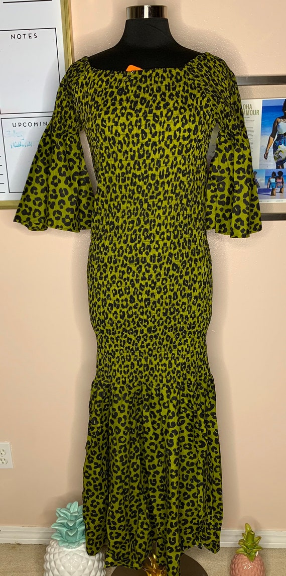 Tulip leopard / Plus size African Dress/ African Print Dress/ OS fits  XS-3X/ green leopard
