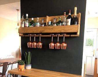 Unique Large Dark Rustic Upcycled Pallet Wood Wine Rack 100cm