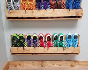 Set of 2 Large Shabby Chic Wooden Shoe Racks Rustic Vintage Shoe / Display Shelf Space saver Shoe Storage
