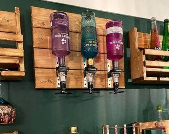 Home Optics Wall Bar Rustic Reclaimed Wood for Spirits display and serving - Beaumont 25ml measure