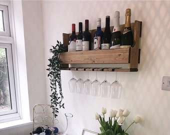 Wall Mounted Wine Rack/Glass Holder 6 glasses Pallet Wooden