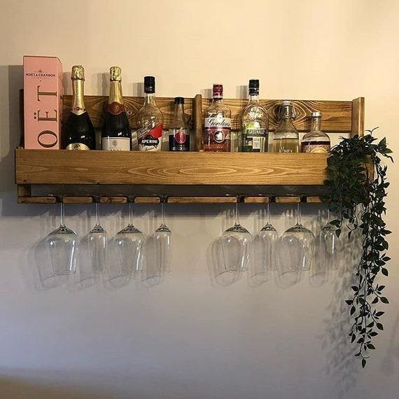 Wooden Gin,alcohol Rack Bespoke,handmade Home Drinks Bar