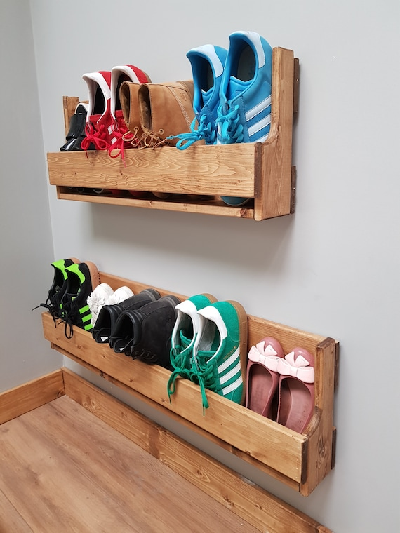 Set of 2 small reclaimed wood wall mounted shoe rack ideal storage solution