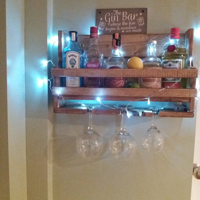 Bespoke small reclaimed wooden floating gin and tonic spirit rack, birthday  gift for a gin lover!