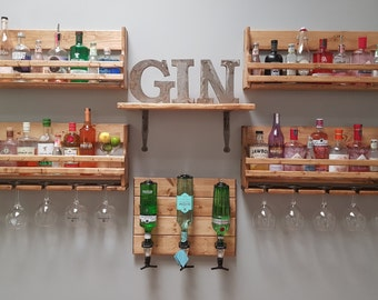 Home Bar -Reclaimed wooden Beaumont optics plaque with Wine, Vodka, Gin and Champagne Drinks Rack and Bottle Holder and Spirit shelf