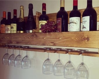 Wall Mounted Wooden Wine Rack/Glass Holder 8 glasses Pallet, Ideal for bar/pub/summerhouse/mancave