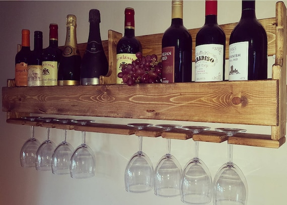 Wall Mounted Wooden Wine Rackglass Holder 8 Glasses Pallet Etsy