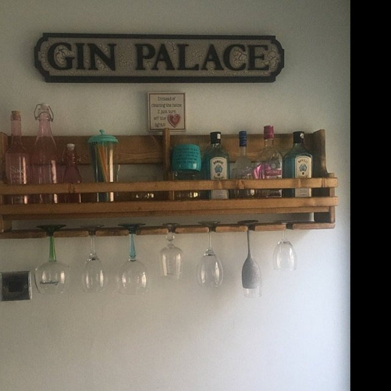 Bespoke Medium reclaimed wooden floating gin and tonic spirit rack ideal  wedding gift