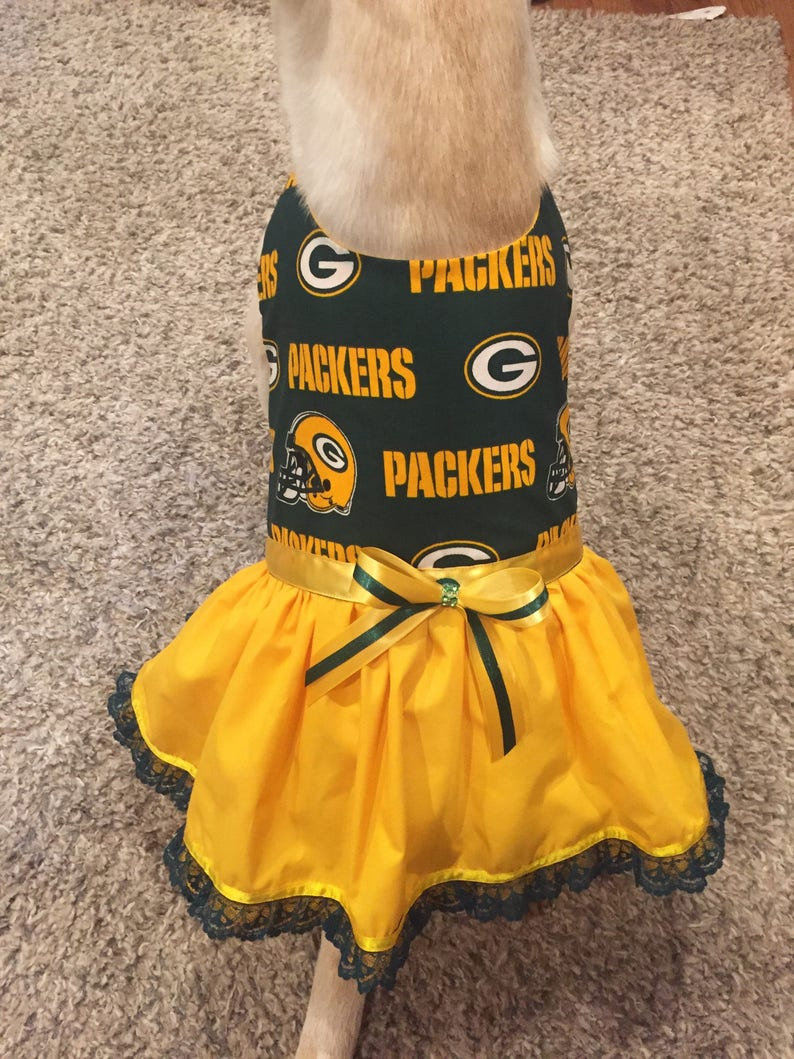 Dog TuTu Dress Green Bay Packers Dog Costume Green Bay Packers Dog Dress Packers Tulle Dog Dress