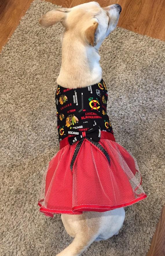separation shoes e737c deef1 Chicago Blackhawks Dog Dress, Dog TuTu Dress, Blackhawks Tulle Dog Dress,  Chicago Blackhawks Dog Costume