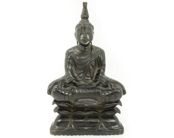 Solid Ebony Hand Carved Wood Sculpture of Sitting Buddha