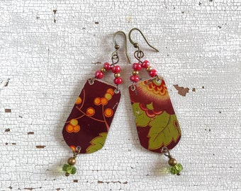 Earrings with flowers, earrings with recycled tin box, handmade, unique piece, made in Italy.