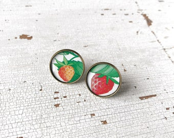 Round lobe earrings, jewel made with recycled vintage tin tray, earrings with fruit, handmade, made in Italy.