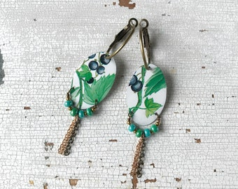 Hoop earrings with pendant, created with vintage tin tray, botanical earrings with fruit, handmade, made in Italy.