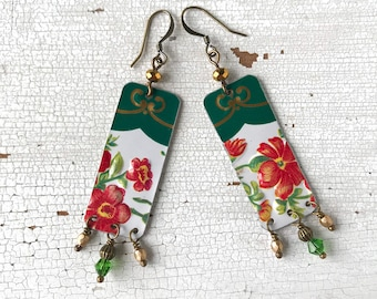 Long earrings, rectangular earrings with flowers made with vintage tin box, handmade, made in Italy.
