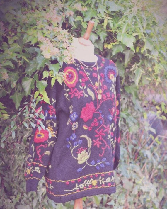 Beautiful folk flowers embroidered jumper
