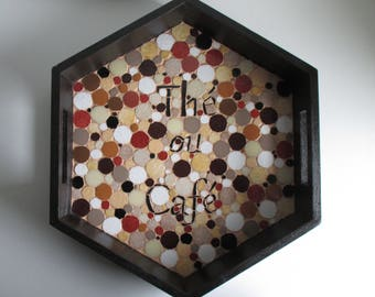 """Tea or coffee"" mosaic tray"