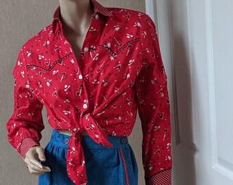 So Cute Catherine Carr Vintage Blue Jean Applique Skirt Western Bandana Print Shirt Western Shirt FREE SHIPPING 2 Piece