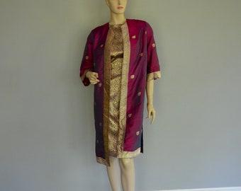 d0d447ac410 Gorgeous Vintage Dress Coat Tunic Sari Gold Magenta Silk Purple 2 Pieces  Wiggle Dress 1950 s 1960 s Iridescent Silk Free Shipping