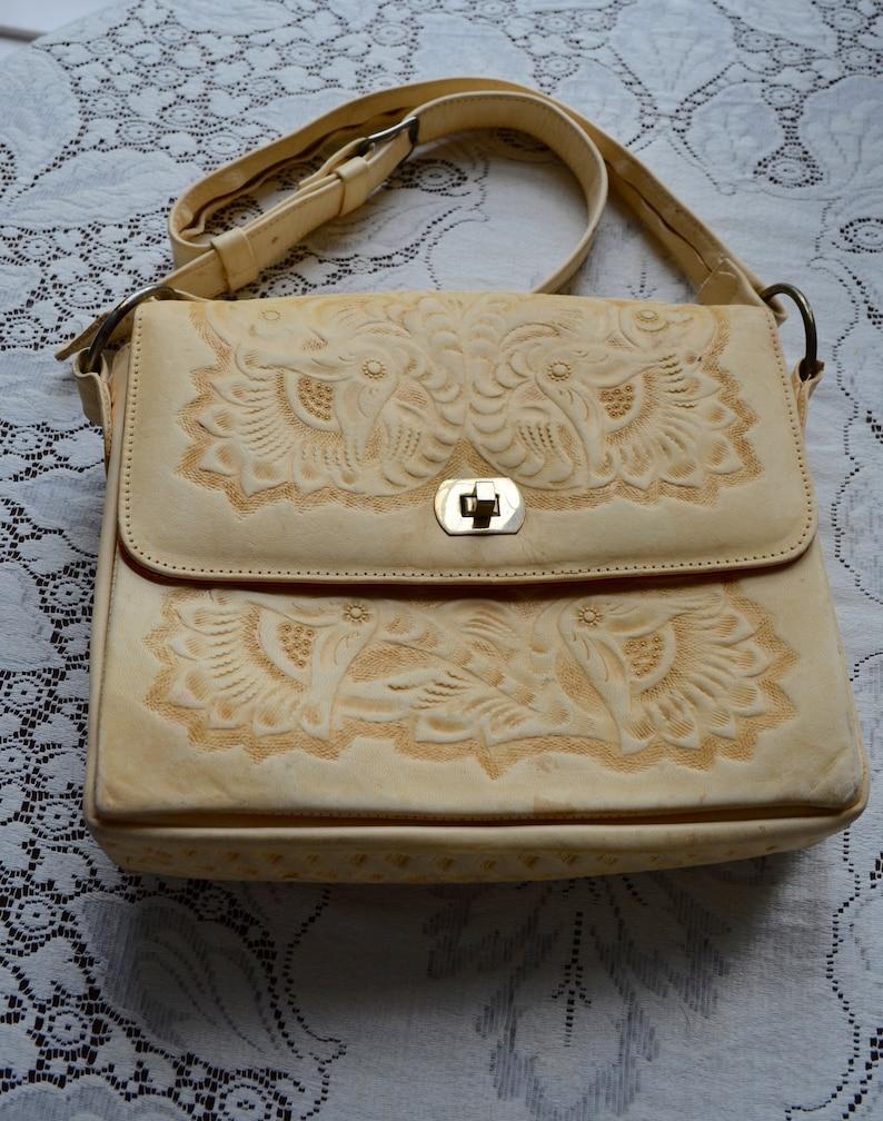 Vintage Hand Tooled Casa Flores Shoulder Bag Blonde Leather  46c6d523b8a97