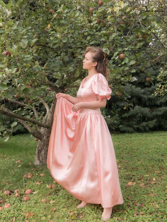 1980s Satin Prom Dress