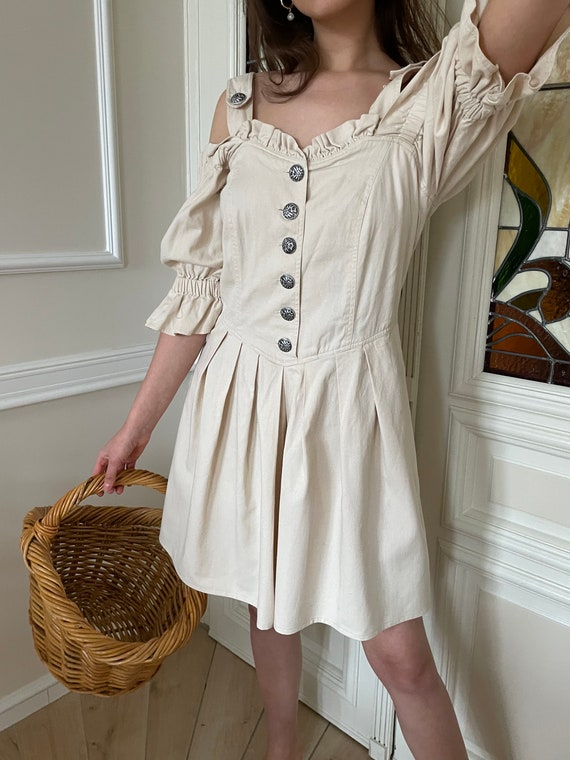 True vintage cottagecore cream cotton dress - image 3
