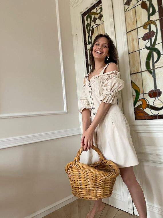 True vintage cottagecore cream cotton dress - image 1