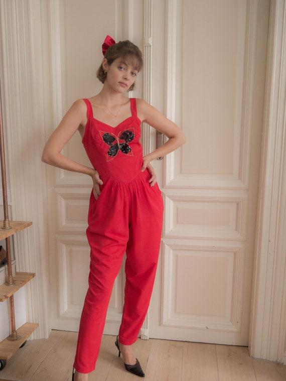 Vintage 1980s butterfly jumpsuit corset red cotton
