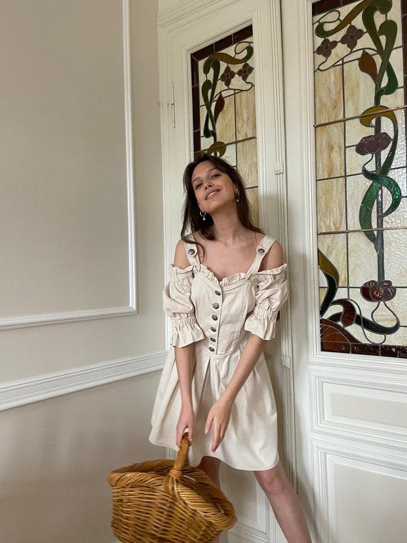 True vintage cottagecore cream cotton dress - image 5