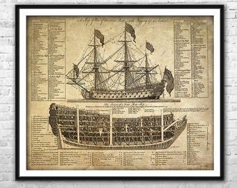 Ship blueprint etsy old ship blueprint archival paper print and canvas print warship poster pirate ship wall art home malvernweather Choice Image