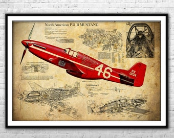 P 51 mustang art etsy p 51 mustang blueprint north american aviation fighter bomber archival print airplane blueprint wall art boys room home decor gift for him malvernweather Images