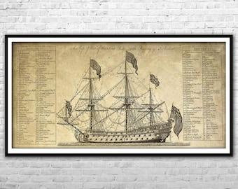 Old ship blueprint paper canvas print warship poster wall art pirate ship blueprint archival paper print and canvas print warship poster pirate ship wall art home decor multi panel british ship print malvernweather Image collections