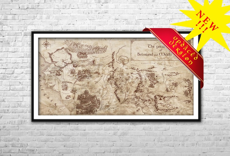 Middle Earth and Beleriand map Archival Paper Canvas Print | Etsy