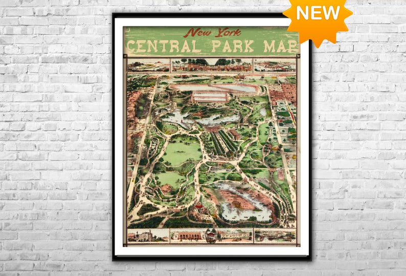 Central Park map NY Vintage map of New York Central Park | Etsy on
