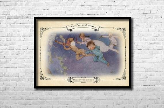 Peter Pan And Wendy Neverland Captain Hook Peter Pan Wall Art Etsy