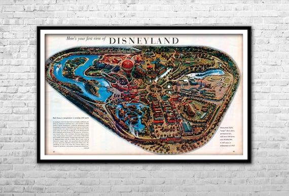 Walt Disney Nursery Disneyland Wall Art Retouched Vintage Disneyland Map 1983