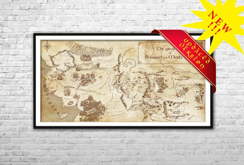 Middle Earth and Beleriand map Matte Paper Canvas Print Lord | Etsy