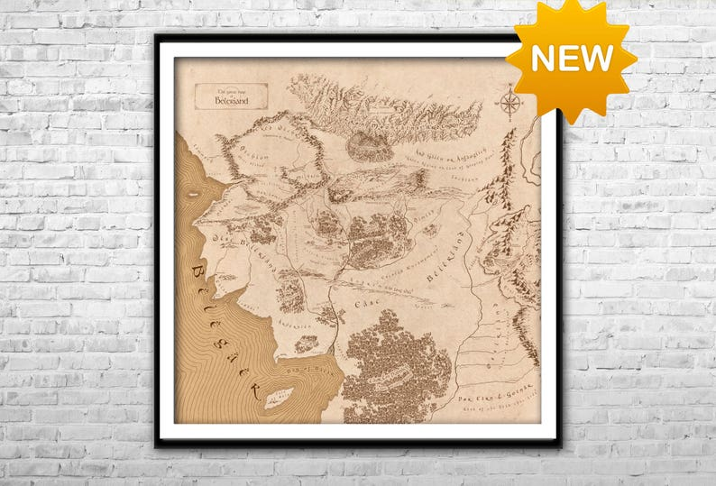 Beleriand map - Lord of the Rings Detailed map Middle Earth map art Wall  Art Home Decor Multi panel LOTR map poster Thorins map Tolkien map