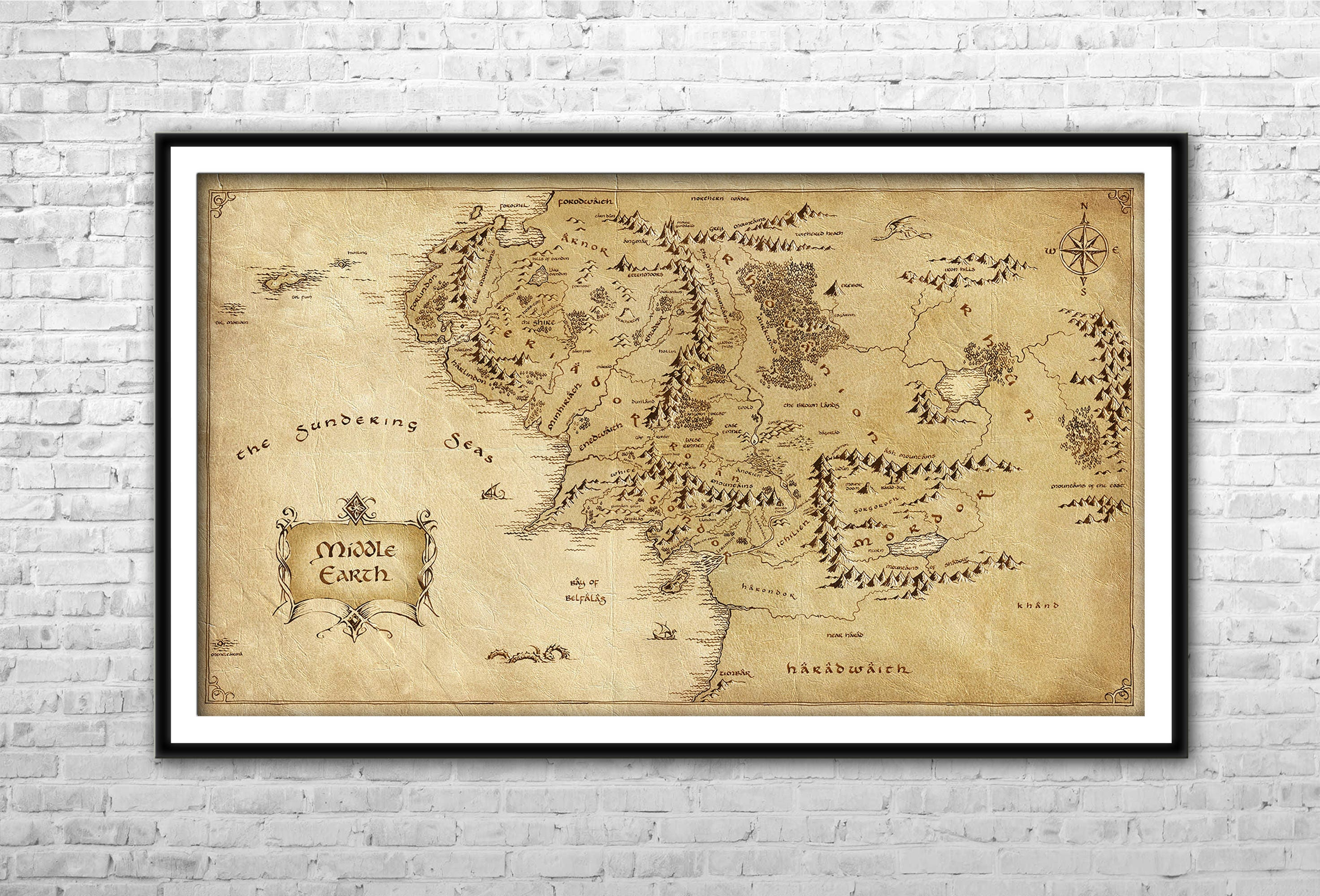 The Middle Earth map Lord of the Rings Archival Paper Canvas | Etsy