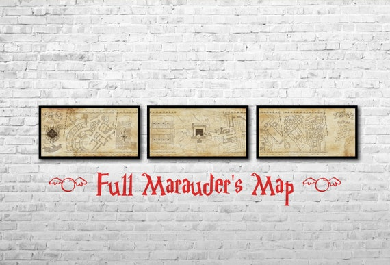 Marauders Map Full Long Print Hogwarts map Set of 3 Hogwarts   Etsy