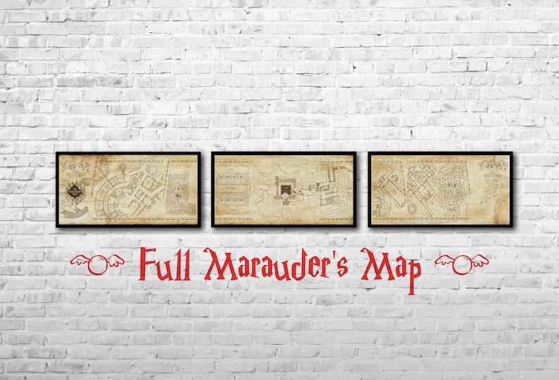 Marauders Map Full Long Print Hogwarts map Set of 3 Hogwarts | Etsy