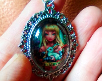 Bunny Girl Necklace - Lolita Necklace - Gothic Jewelry - Gothic Necklace - Anie Lolita - Gorhic Choker - Cameo Necklace - Anime Jewelry
