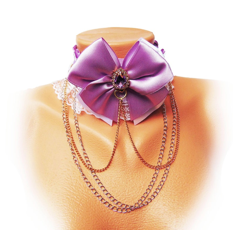 Bdsm Purple Wedding Collar for Bride Posh Submissive Kitten Play Collar Purple Bride High Quality