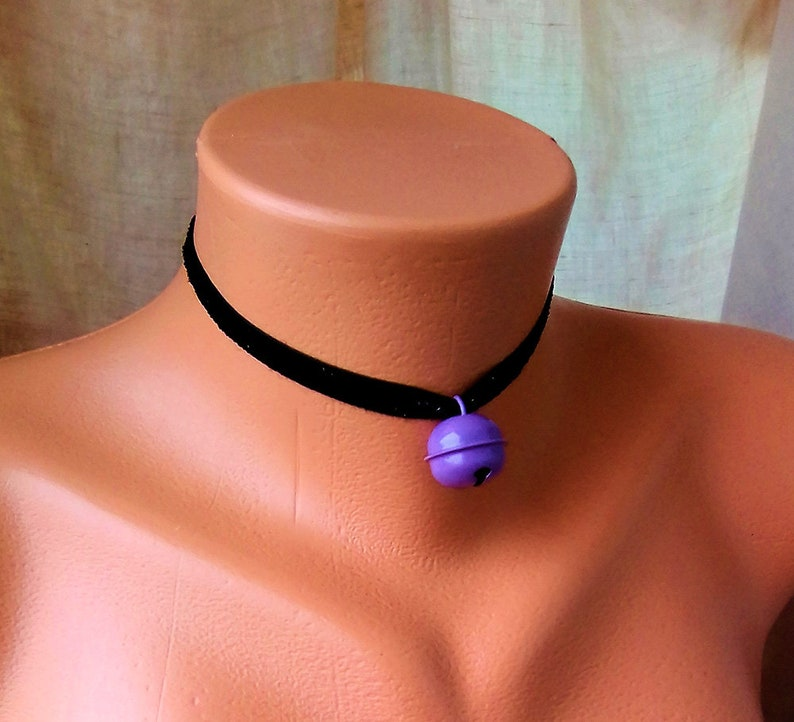 Build Your Own Choker Glitter Black Velvet and Purple Bell BDSM Collar DDLG Kitten Play Day Collar KItten Play Collar