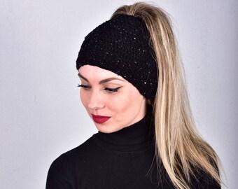 Hat with Sequins, Sequined Hats, Messy Bun Hat, Ponytail Hat for Women, Elegant Bun Hat, Black Bead Hat, Black Bun Beanie, Bling Beanies